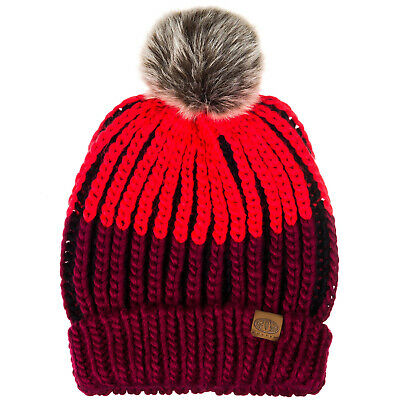 Animal Womens Avoraa Winter Cable Knit Knitted Bobble Beanie Hat - One Size