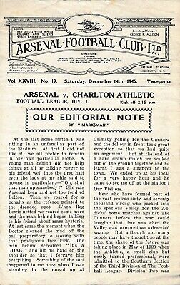 Arsenal v Charlton Athletic 1946/7 - Football Programme