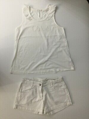 Chloe Girls Outfit Set White Top T Shirt And Shorts Age 12 Years