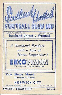 Southend United v Watford 1949/50 - Football Programme