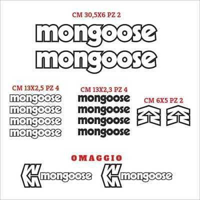 MONGOOSE Adesivi Bici Kit Adesivi Stickers 12 Pezzi Bike Cycle pegatina DECALCOM