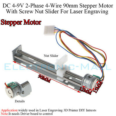 DC 4-9V 2-Phase 4-Wire 90mm Stepper Motor Screw Nut Slider For Laser Engraving