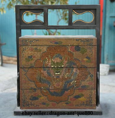 "16.2"" Old Chinese Wood Lacquerware Dynasty Palace Dragon Portable Food Box Boxes"