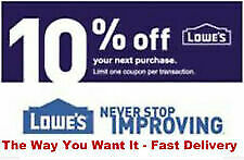 Three 3x Lowes 10% OFF 3Coupons Discount Instore/online Fast Delivery 07-30-19