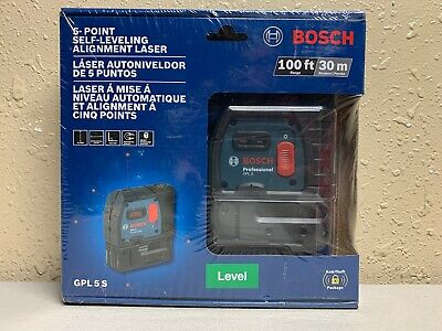 Bosch GPL 5 S Laser Level 100 ft. 5 Point Self Leveling Plumb and Square Laser