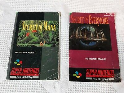 SNES - Secret of Evermore & Mana Manuals Only Super Nintendo not boxed or game