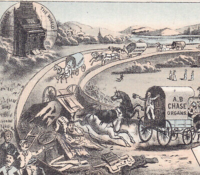 Chase Organ 1800's Horse Race Track Fantasy Advertising old Victorian Trade Card