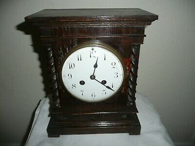 Antique, French, Vincenti & Cie, Mantle Clock in Oak Case, Barley Twist Supports