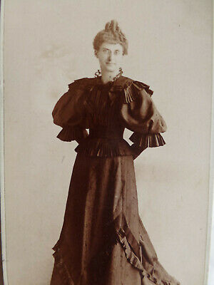Antique Cabinet Card Photo Lady Fancy Victorian Dress Big Puff Sleeves Peoria IL