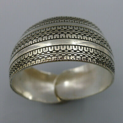 Tibetan Style Silver Jewelry Hand Relief Wide Bangle Adjustable Crafts Bracelet