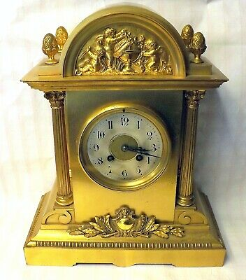 Incredible 19Th Century Neoclassical Gilded Mantle Clock ~Playful Cherub Scene~