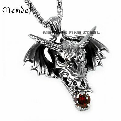 MENDEL Mens Celtic Dragon Necklace Pendant For Men CZ Stainless Steel Silver