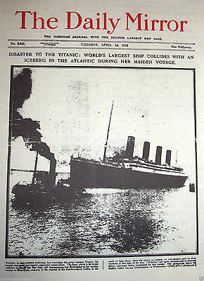 1912 TITANIC Disaster Newspaper White Star Line Old Vintage Antique Retro News