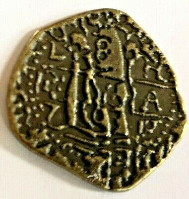 Unusual UNKNOWN Coin Antique Old Strange Mystery Roman Greek Symbols Markings US