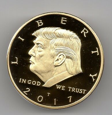 Donald Trump Gold Dollar Coin President New York Americana MAGA Republican Retro