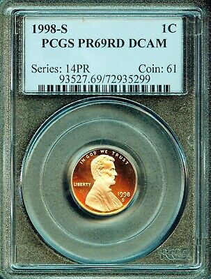 1998-S Lincoln Cent PR69RD DCAM PCGS Proof 69 Red Deep Cameo