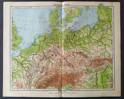 Vintage Deutsche Reich Map German Atlas Print 1942 Original WWII Era Germany