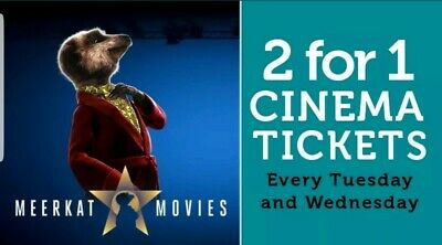 Meerkat Movies 2 For 1 Cinema Code *Instant!* Tuesday Wednesday