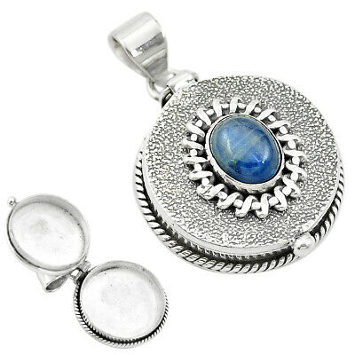 Natural Blue Kyanite 925 Sterling Silver Poison Box Pendant Jewelry M49745