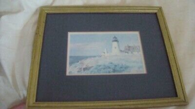 Pemaquid Light House Maine Watercolor Print Signed Framed Matted Alan Eastman