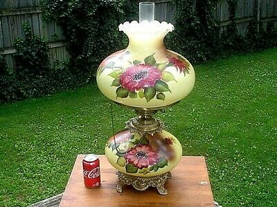Large 24'' Floral Vintage Parlor Type Table Lamp 3 Way