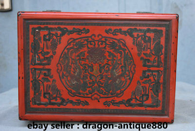 "10.6"" Marked Old Chinese Lacquerware Dynasty Palace Phoenix Flower Jewelry Box"