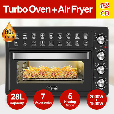 28L MIC Electric Oven Air Fryer Benchtop Toaster Rotisserie Low Fat Grill Bake