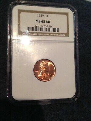 1959 LINCOLN MEMORIAL CENT NGC MS 65 RD COIN RED LUSTER GEM UNC no reserve