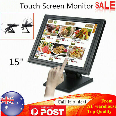 """15"""" LED Touch Screen Monitor w/ POS Stand TFT VGA for Kiosk Retail USB 1024X768"""