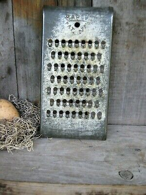 Early Antique Primitive Dark Tin Grater Rapid Brand Free Shipping
