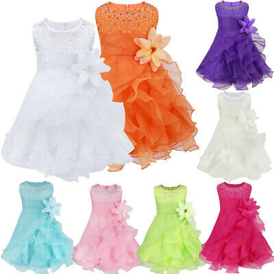 Baby Girls Rhinestone Princess Wedding Baptism Ruffle Toddler Flower Girl Dress