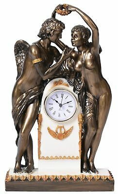 Historical Mantel Clock Empire Style Amor & Psyche Allegory Table Vintage New