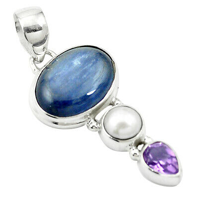 12.39cts Natural Blue Kyanite Amethyst 925 Sterling Silver Pendant M57673
