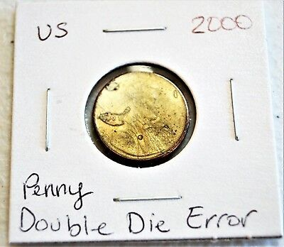 2000 1C Lincoln Cent Double Die Obverse Full Mint Red Error 2000 Rare