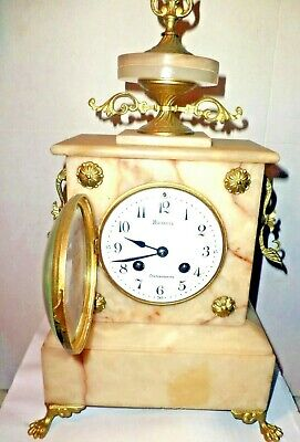 8. French Antique White Marble Mantel Clock