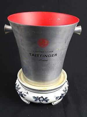 Vintage Champagne Taittinger Reims Ice Bucket on Chinese Porcelain Stand