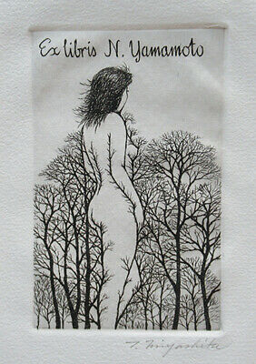 Ex Libris bookplate nude woman forest Miyashita Tokio signed