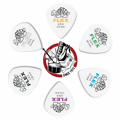 6 x Jim Dunlop Tortex Jazz III FLEX Variety Gauge Guitar Picks 468R *NEW* Mixed