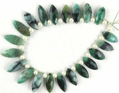 21 Pieces Natural Emerald Gemstone Faceted Marquise Shape Size 7x15-7.5x20 MM