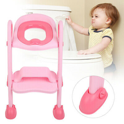 Toilettentrainer Kinder Baby Toilettensitz Lerntöpfchen Leiter WC Sit Rose PP DE