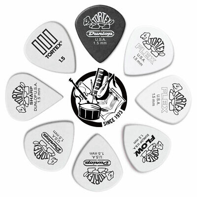 8 X Jim Dunlop Tortex 1.50mm Variety Guitar Picks *NEW* Standard Flex Wedge