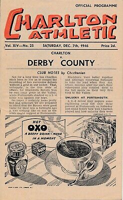CHARLTON v Derby County 1946/7 - Football Programme