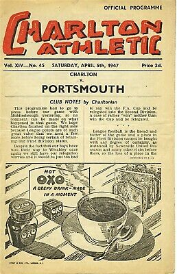 CHARLTON v Portsmouth 1946/7 - Football Programme
