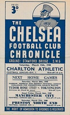 CHELSEA v Charlton Athletic 1947/8 - Football Programme