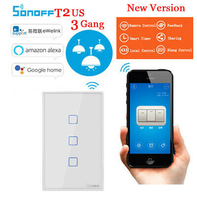 Smart WiFi Touch Screen LED Light Wall Switch Remote Modern Home 1/2/3 Gang Way