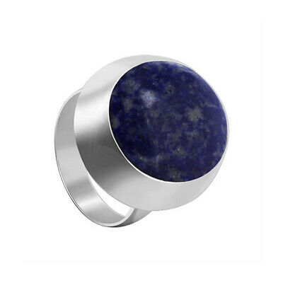 925 Sterling Silver Blue Lapis Lazuli Gemstone Oval Solitaire Ring Size 4 - 9