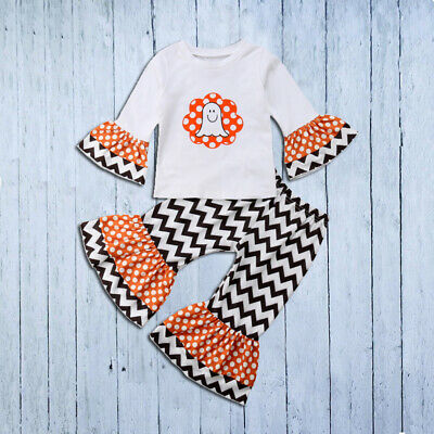 US Baby Girls Halloween Outfit Ghost T Shirt+Flare Wave Pants Fall Kids Clothes