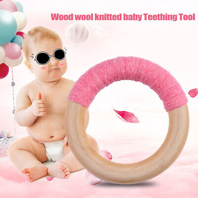 Natural Safety Beech Wooden Teething Beads DIY Baby Chewable Teether Toy Making