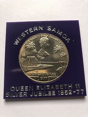 1977 WESTERN SAMOA ROYAL SILVER JUBILEE 1977 $1 CROWN SIZED COIN 39mm Cased