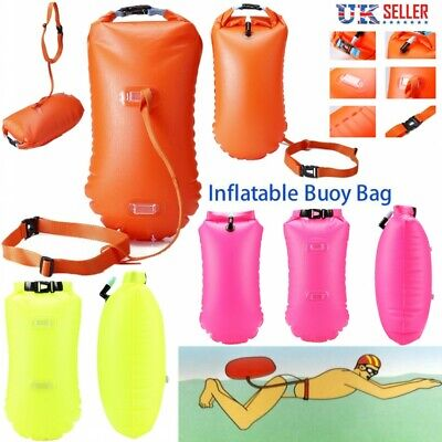 Inflatable Swim Buoy Safety Float Waterproof Air Dry Bag For Open Water Swimming